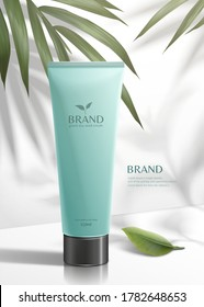 Green tea seed skincare product with palm leaves in 3d illustration, fresh cosmetic ads