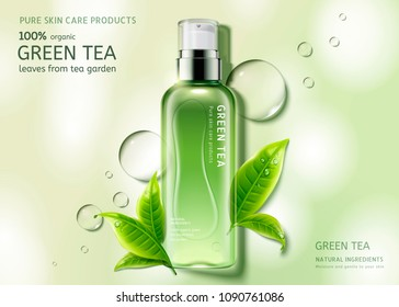 Green tea skin care spray bottle with leaves and water drop elements, top view container illustration