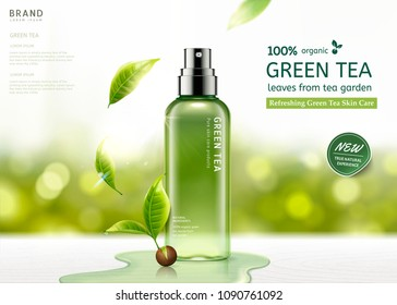 Green tea skin care spray bottle with leaves and waters on white wooden table illustration, bokeh glitter background