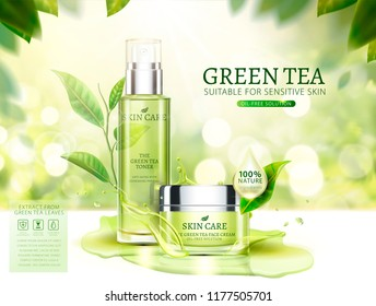 Green tea skincare ads with cream jar and spray bottle in 3d illustration, glittering bokeh background