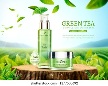 Green tea skincare ads with products placed on cut tree trunk and leaves flying in the sky in 3d illustration, bokeh tea garden background
