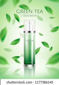Green tea spray toner ads with refreshing leaves flying in the air in 3d illustration