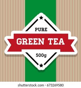 Green Tea vintage stamp label vector