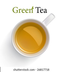 Green Tea in white cup. Vector image, made with gradient mesh.