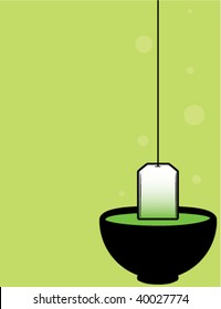 Green teacup background - vector version