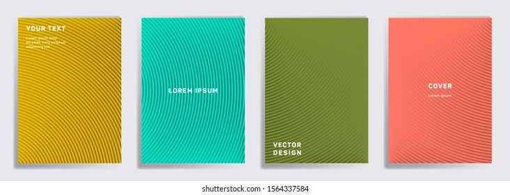 Green teal coral gold cover templates set. Radial semicircle geometric lines patterns. Modern backgrounds for catalogues, business magazine. Line stripes graphics, title elements. Cover page layouts.