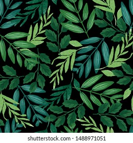 Green and teal tropical leaf pattern. Seamless graphic design tile with amazing foliage. Fashion, interior, wrapping, packaging fabric, textile. Realistic variety of leaves.