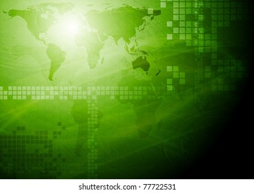Green tech design with world map. Eps 10 vector