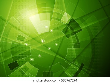 Green tech geometric background with gear shape. Vector abstract graphic design