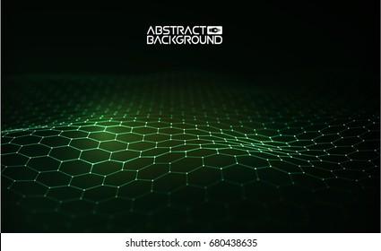 Green technology background. Futuristic hexagon vector illustration. Futuristic hexagon vector illustration. HUD element.  3d landscape. Big data.