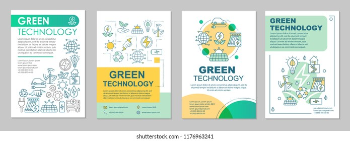 Green technology brochure layout. Clean energy. Flyer, booklet, leaflet print design with linear illustrations. Conservation. Vector page layouts for magazines, annual reports, advertising posters