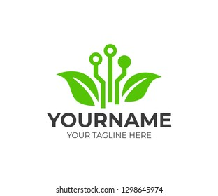 Green technology and circuit with leaves, logo design. Smart agricultural, E-agriculture and climate-smart farm, vector design and illustration