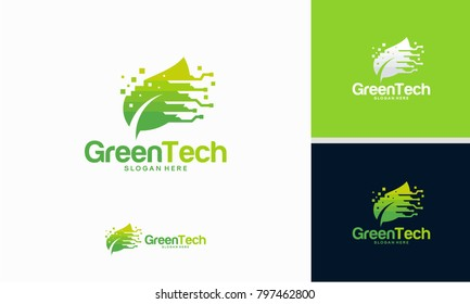 Green Technology logo designs concept vector, Fast Leaf technology logo