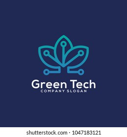 Green technology logo template vector illustration