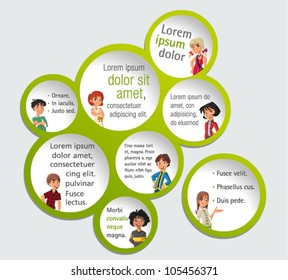 Green template for advertising brochure with teenager students