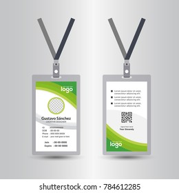 green template staff or employee identification card vector illustrations or id card