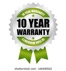 Green ten years warranty seal