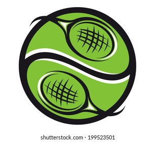 Green tennis ball symbol with rackets icon for sports logo emblem design