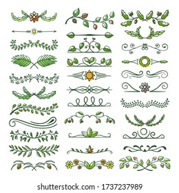Green text dividers, page separators design set. Fancy borders, laurels with plant, floral decorative elements. Symmetrical natural flourishes, arrows, curve lines vector collection isolated on white.