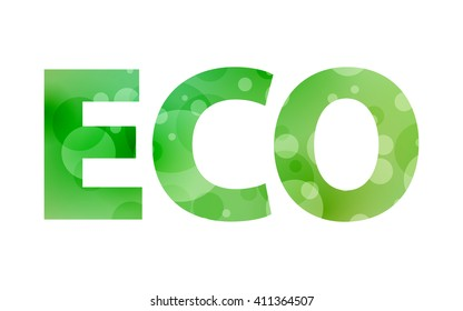 green text ECO with decorative circles