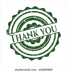 Green Thank you distressed rubber grunge seal