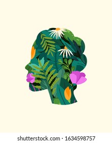 Green think. Silhouette of woman, with flowers grow inside. Green thinking concept, with a pattern of leaves, plants and flowers. Creative fantasy thinking vector illustration. Fantasy greeting card.
