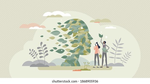 Green thinking as face rejuvenale with sustainable leaves tiny person concept. Environment friendly approach regeneration and alternative eco power consumption support symbolic vector illustration.