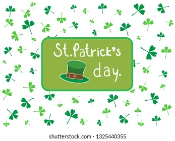 Green three leaf clovers and hat on white isolated background,  copy space. Illustration vector shamrock pattern wallpaper, symbol of St Patrick's Festival day to present happy and lucky on 17 March.