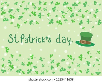 Green three leaf clovers and hat on pastel green background with copy space. Illustration vector shamrock pattern wallpaper, symbol of St Patrick's Festival day to present happy and lucky on 17 March.