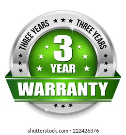 Green three year warranty badge with metallic border and ribbon