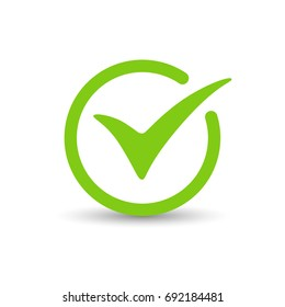 Green tick check mark, box, sign. Vector illustration.