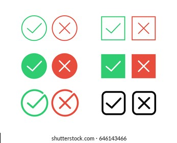 Green tick check mark and cancel decline red cross vector icons for internet buttons or web page interface element design template. Isolated round circle and square frame shape set on white background