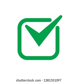 Green tick icon vector symbol, checkmark isolated on white background, checked icon or correct choice sign, check mark or checkbox pictogram