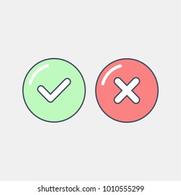 Green tick and red cross checkmarks icons set. Vector illustration in flat line style.