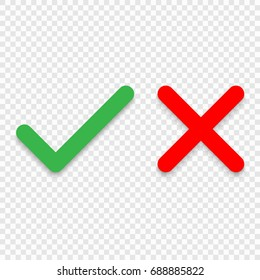 Green tick and red cross checkmarks line icons. Vector illustration isolated on white background.