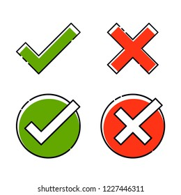 Green tick and red cross set. Right or wrong. True or false vector