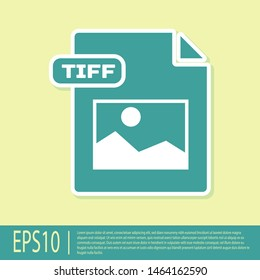 Green TIFF file document. Download tiff button icon isolated on yellow background. TIFF file symbol.  Vector Illustration