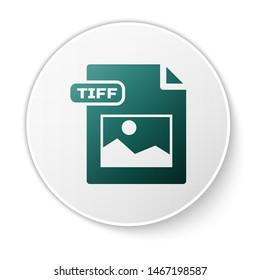 Green TIFF file document. Download tiff button icon isolated on white background. TIFF file symbol. White circle button. Vector Illustration
