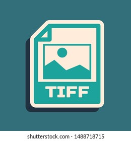 Green TIFF file document. Download tiff button icon isolated on blue background. TIFF file symbol. Long shadow style. Vector Illustration