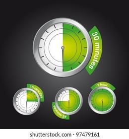 green timer clock over black background. vector illustration
