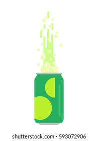 Green tin can of soda. Vector illustration. White background.