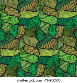 Green tones simple wavy seamless pattern, with lines and curves
