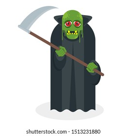 Green toothy zombie in a black cloak with a scythe in his hands. The living dead. Halloween character. Flat vector cartoon person on white background.