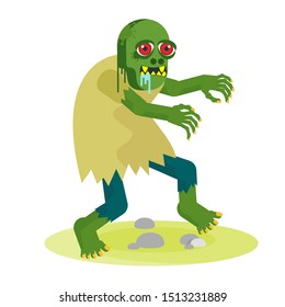 Green toothy zombie with red eyes walks with outstretched arms. The living dead. Halloween character. Flat vector cartoon person on white background.