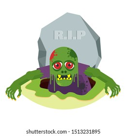 Green toothy zombie with red eyes climbs out of the grave. The living dead. Halloween character. Flat vector cartoon person on white background.
