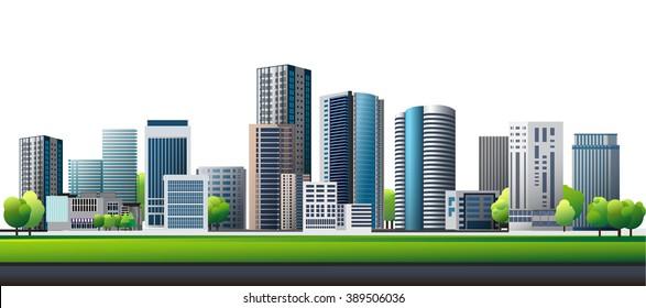Green town. Design vector of urban cityscape.