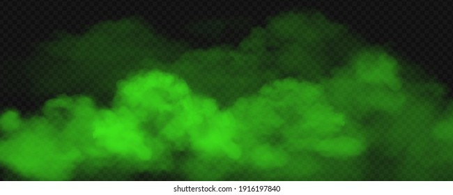 Green toxic smoke fog. Vector realistic illustration of big stink poison clouds, chemical vapour wave or magic green mist. Unpleasant bad smells gas on transparent background
