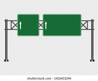 Green traffic sign,Road board signs isolated on transparent background.Vector illustration