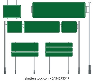 Green traffic signs isolated on a white background. Set of road signs.