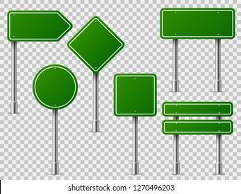 Green traffic signs. Road board text panel, mockup signage direction highway city signpost location street arrow way vector set